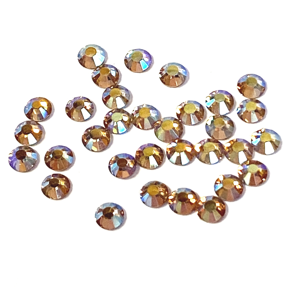 3mm preciosa Lt Colorado Topaz flatback rhinestones, topaz, rhinestone, stone, preciosa, Czech, flatback, 3mm, 32 pieces, silver folded back, sparkle,  jewelry findings, B'sue Boutiques, jewelry supplies, yellow rhinestones, 02052