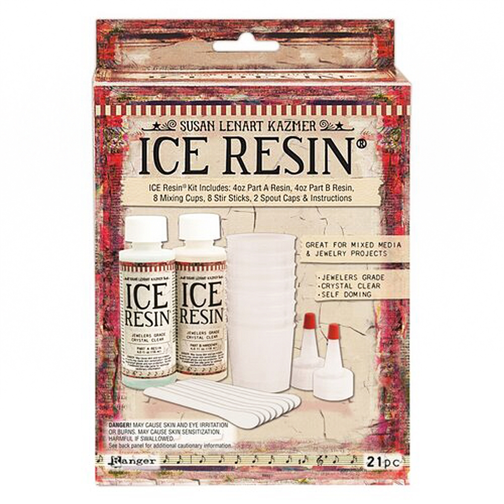 ICERESIN, 2 part Resin, for jewelry making, jeweler's grade, mix, jewelry resin, curing resin, bezels, pouring bezels, B'sue Boutiques, Ice Resin kit, resin kit, best resin, resin with measuring cups, resin, ice resin, resin paper, mixed media resin,