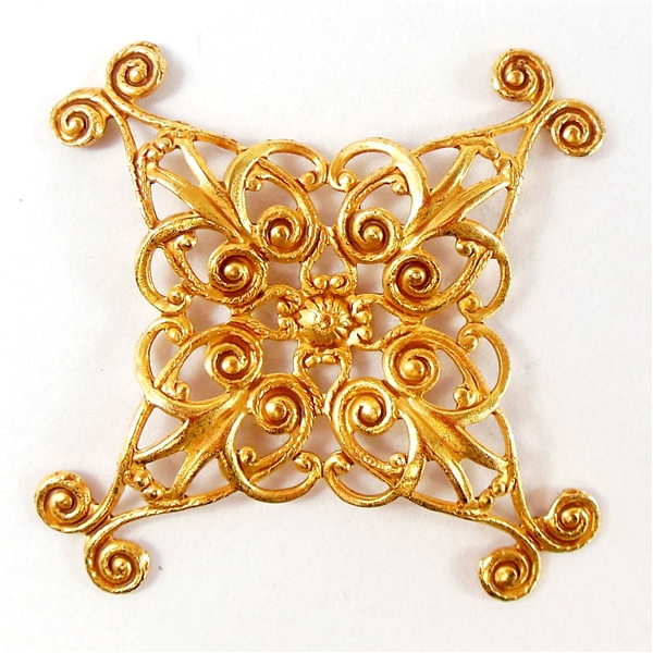 brass filigree x shape beading filigree 07041 Russian Gold plate