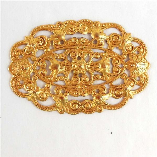 brass filigree Victorian filigree gold plate 07793 Bsue