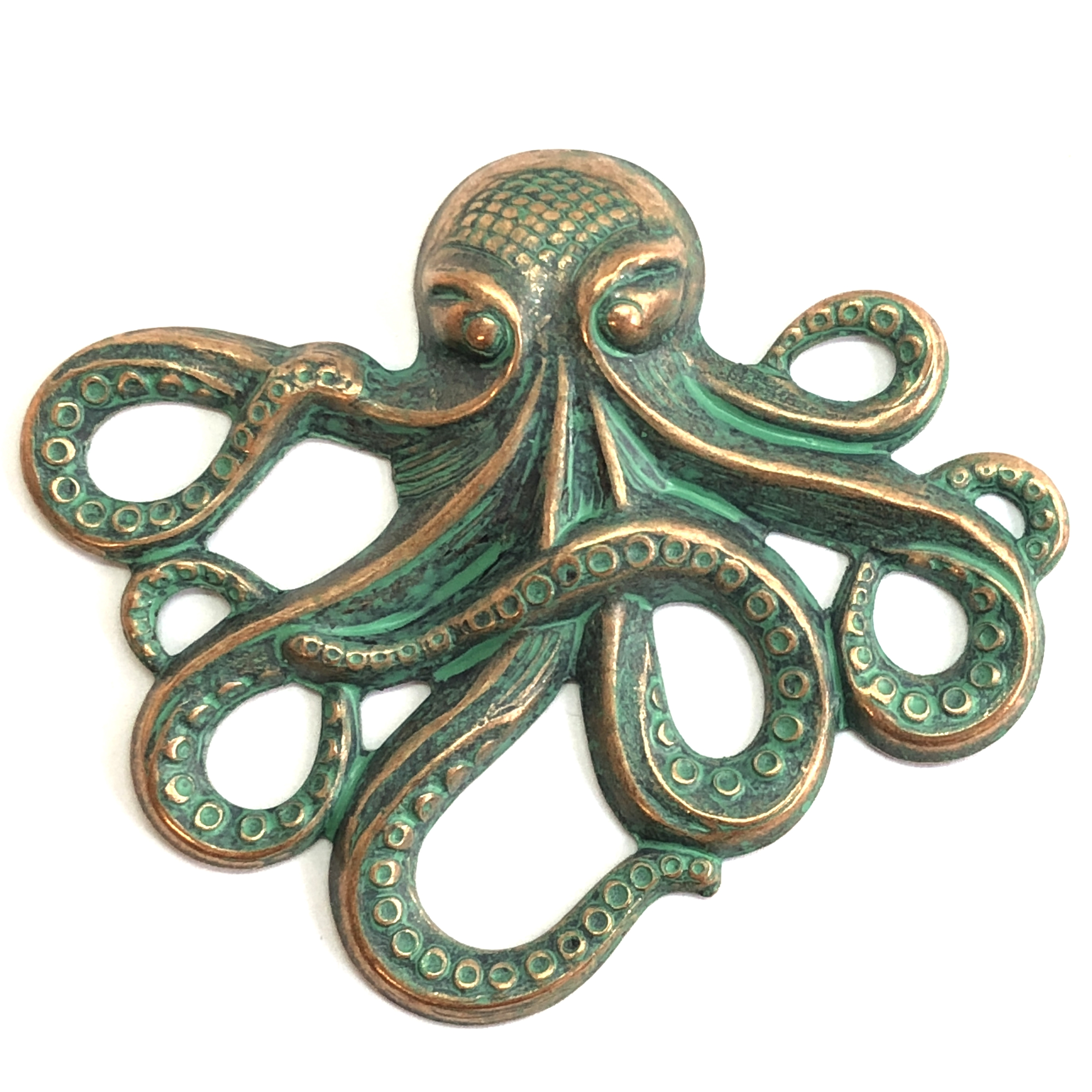 brass octopus, sea creature jewelry, aqua copper patina, 08175, vintage jewelry supplies, nickel free jewelry supplies, beach jewelry, B'sue Boutiques, antique copper, jewelry findings