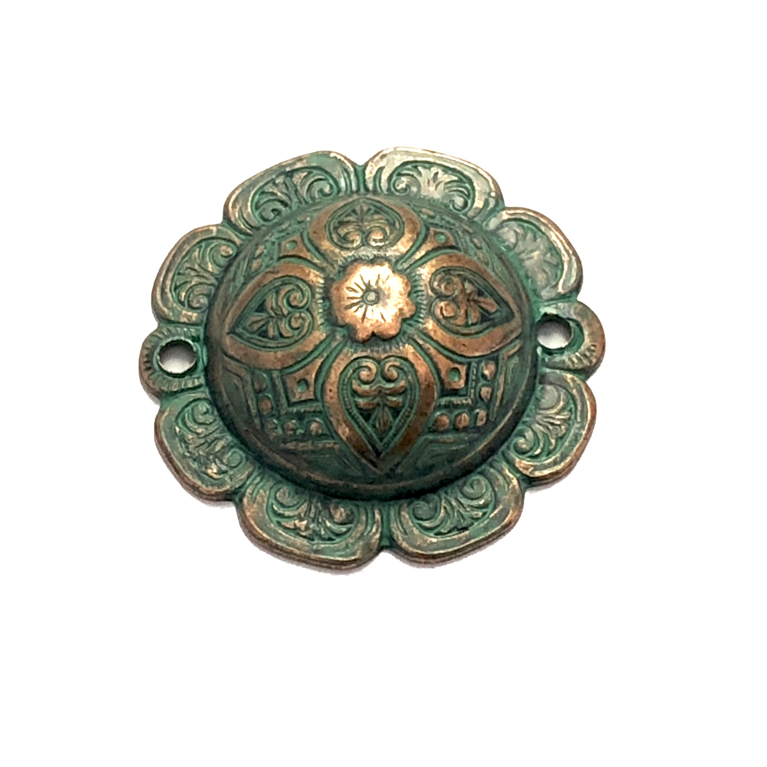 Domed Connector, Aqua Copper, Connector, 27mm, Brass Stamping, Domed, Dapt, Victorian, Floral Pattern, Floral, Floral Design, Connectors, Us Made, Nickel Free, B'sue Boutiques, Vintage Supplies, Jewelry Findings, Jewelry Supplies, Stampings Brass, 08179