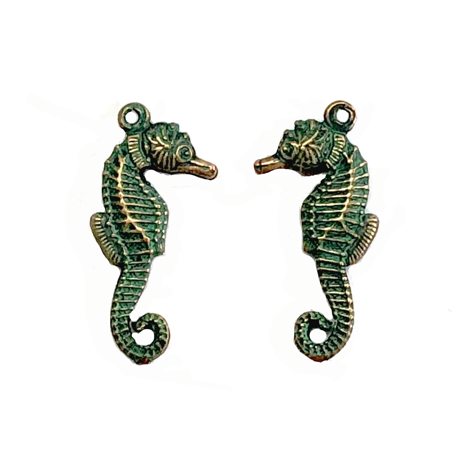 brass seahorse, beach jewelry, jewelry making, 08184, B'sue Boutiques, US made jewelry, nickel free jewelry, vintage jewelry supplies, jewelry making supplies, puffy charms, seahorse charms, aqua copper patina, ocean, sea life, brass charms