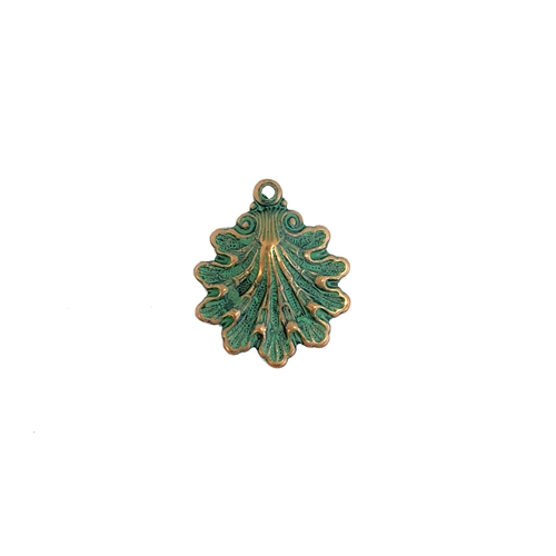 brass shell charm, aqua copper patina, 08195, copper plate brass, jewelry making, 15x14mm, B'sue Boutiques, nickel free jewelry supplies, vintage jewelry supplies, US made jewelry supplies, beach, shell, sea shell, ocean