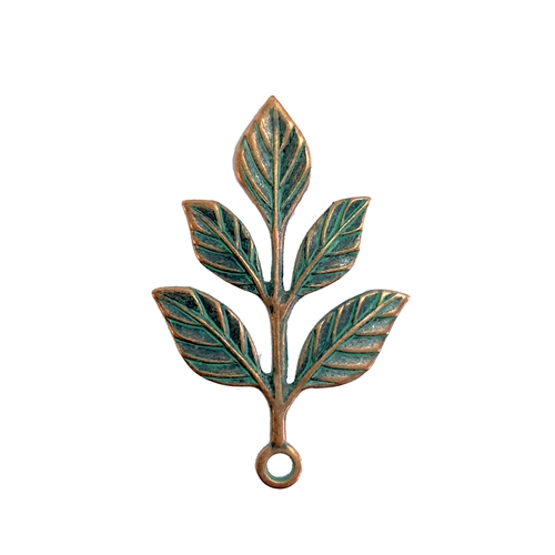 aqua copper patina leaves, leaf, 08198, brass leaves, leaves, b'sue boutiques, jewelry making, jewelry supplies, vintage, vintage stamping, stamping, leaf stamping, leaf charm, pendant, leaf pendant, charm