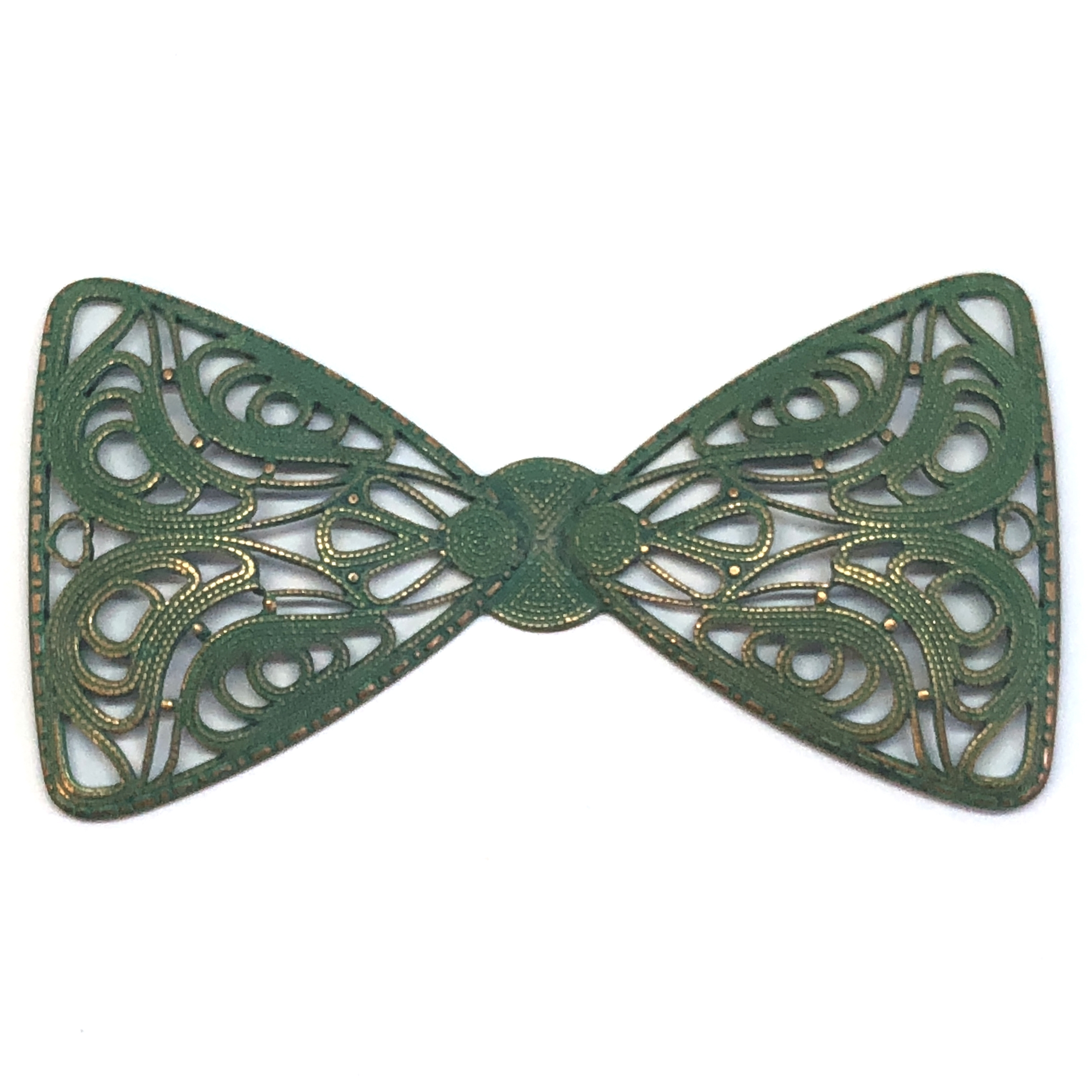Bow Tie, Brass Filigree, aqua copper patina, filigree bow, 40 x 76mm, Brass Stamping, Us Made, Nickel Free, Jewelry Findings, B'sue Boutiques, bow, jewelry making, antique copper, 08200