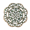 brass filigree, spider web style, aqua copper patina, 08203, jewelry making supplies, brass jewelry parts, vintage jewelry supplies, antique copper, spider web filigree, beading supplies