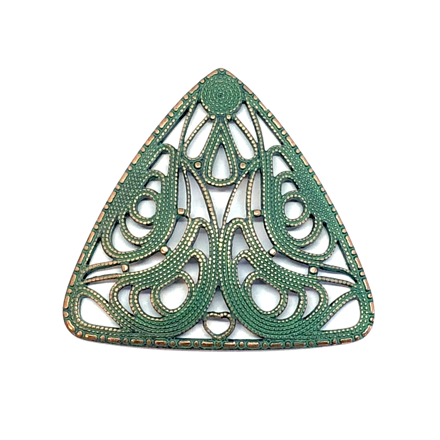 triangular filigree, aqua copper patina, brass, antique copper, filigree, triangular, collar filigree, 37x40mm, us made, nickel free, B'sue Boutiques, jewelry making, vintage supplies, jewelry supplies, cage work, filigree stamping, 08206