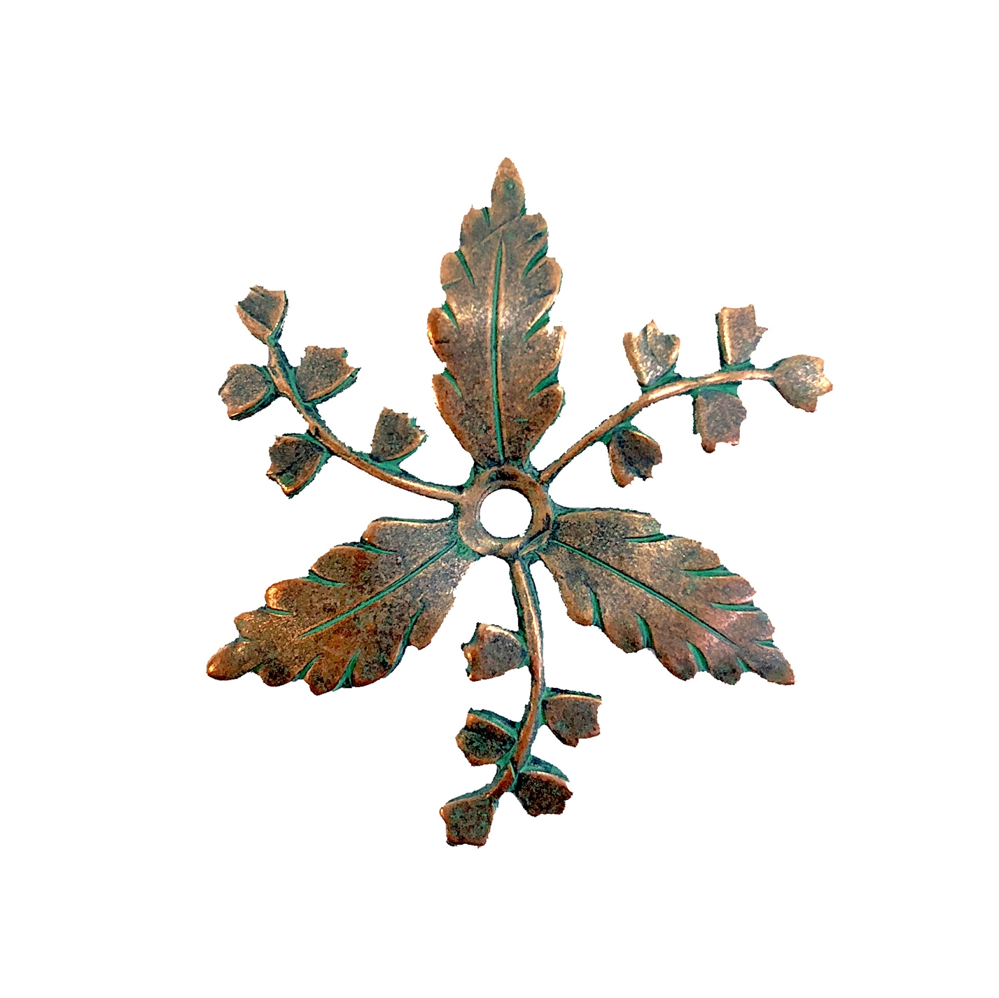 brass leaves, flowers, aqua copper patina, 08207, B'sue Boutiques, nickel free jewelry, US made brass jewelry, beading supplies, drilled leaves, beading leaves, vintage jewelry supplies, aqua, copper
