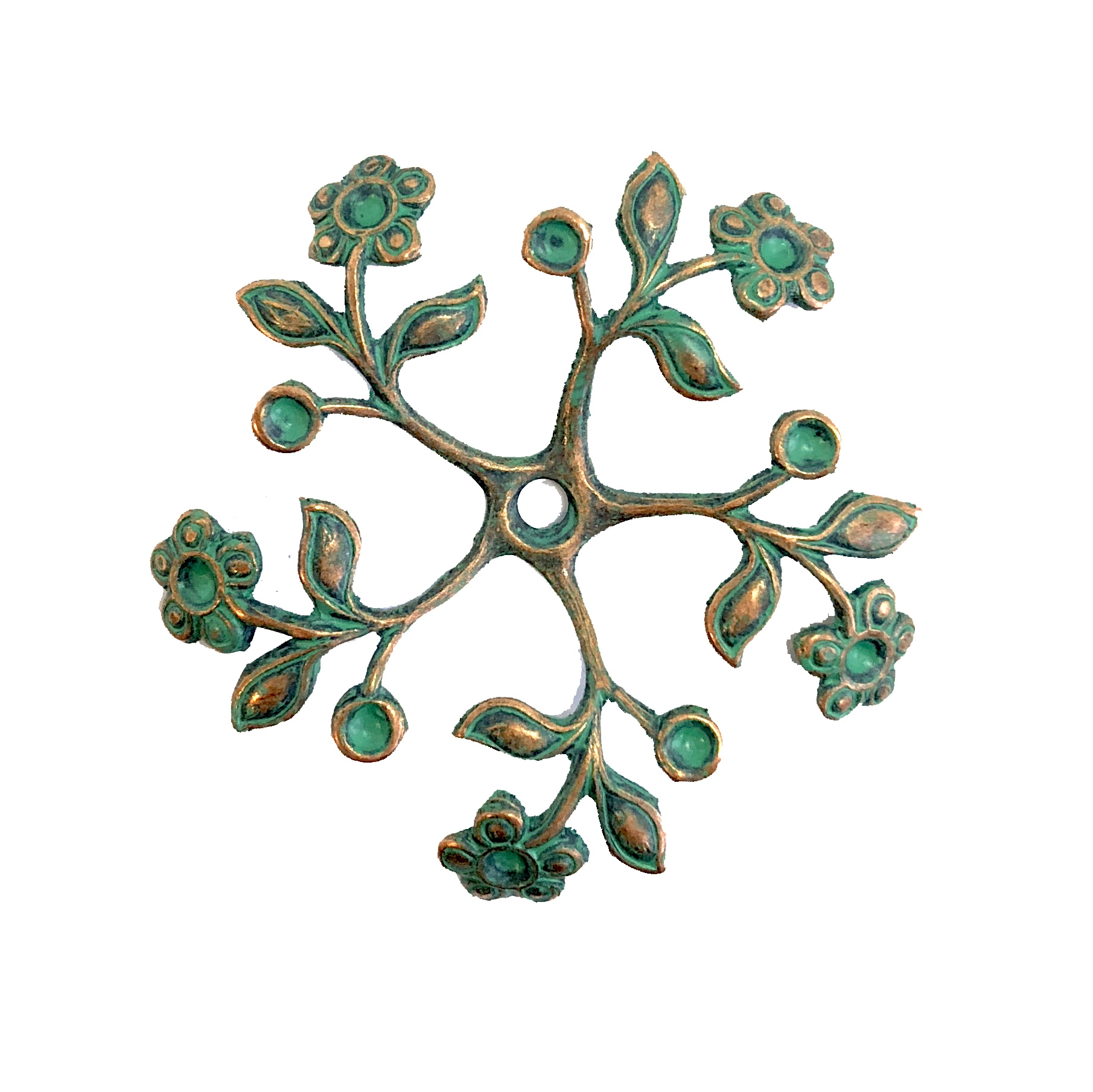 Brass Flower, Brass Leaves, Pinwheel Style, Drilled Stamping, Aqua copper patina, Flower, floral sprig, Spiral, Brass Stamping, 36mm, Pinwheel, Us Made, Nickel Free, B'sue Boutiques, Jewelry Findings, Vintage jewelry Supplies, 08208, aqua, copper