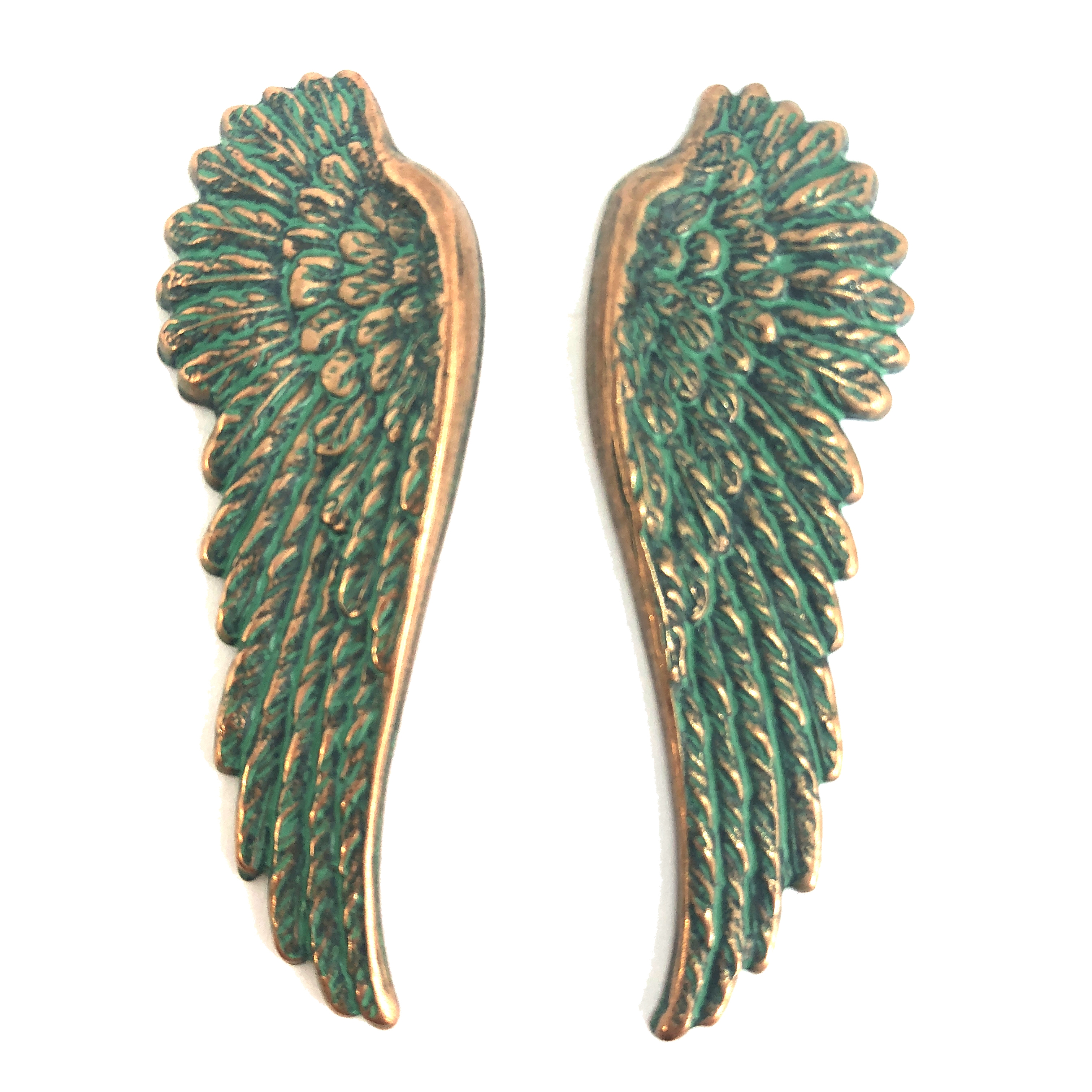 brass wings, bird wings, aqua copper patina, 08217, aqua, copper, wings, vintage jewelry supplies, brass jewelry parts, jewelry making supplies, US made, nickel free, Bsue Boutiques