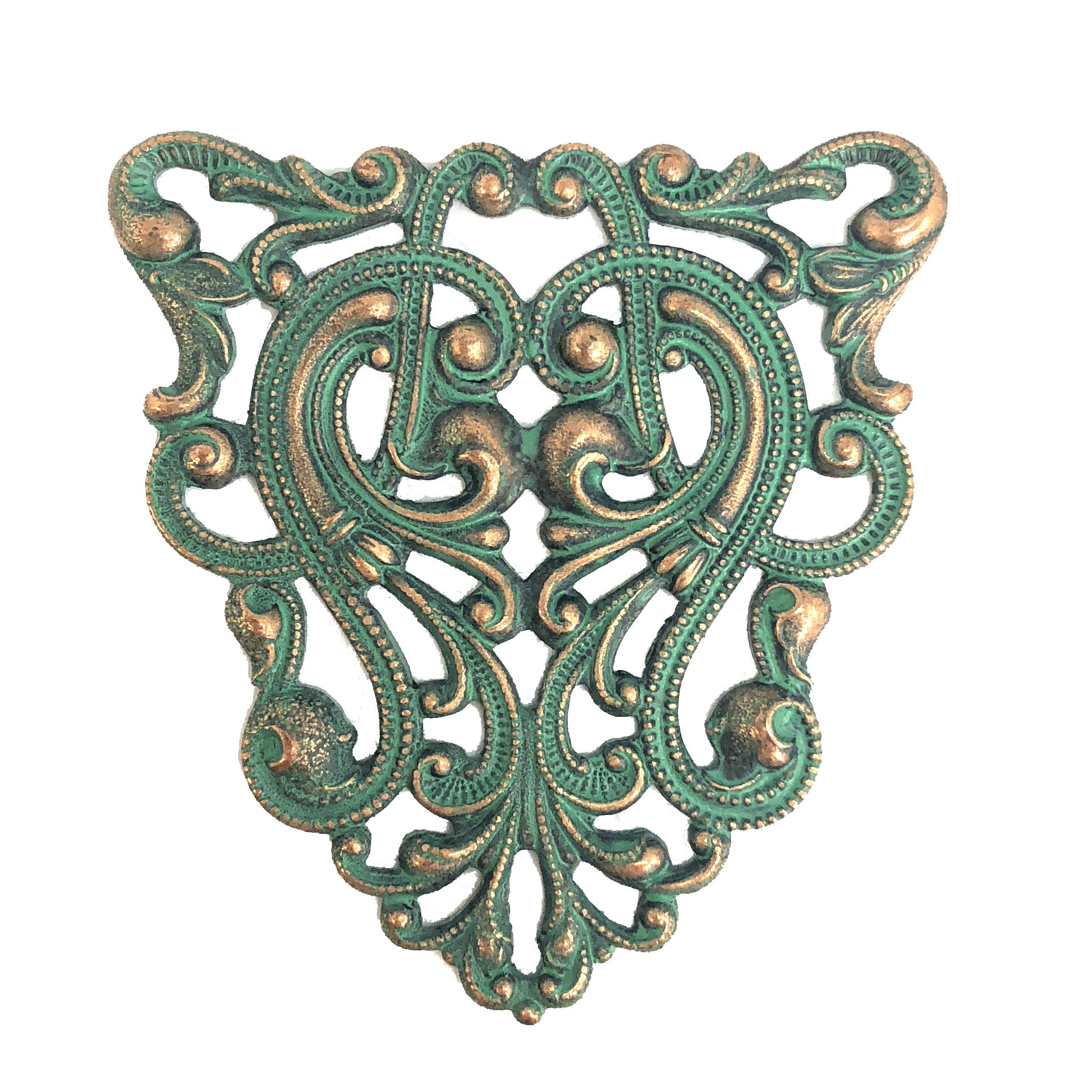 Art nouveau filigree, aqua copper patina, filigree, 40 x 37mm, brass stamping, connector, finding, us made, nickel free, jewelry making, jewelry supplies, vintage supplies, plated brass, brass filigree, design, jewelry findings, 08222