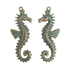 brass seahorse ,beach jewelry, jewelry making,08226, B'sue Boutiques, nickel free jewelry, US made jewelry, vintage jewelry supplies, jewelry making supplies, brass charms, beach charms, seahorse pairs, aqua, copper, ocean, sea life