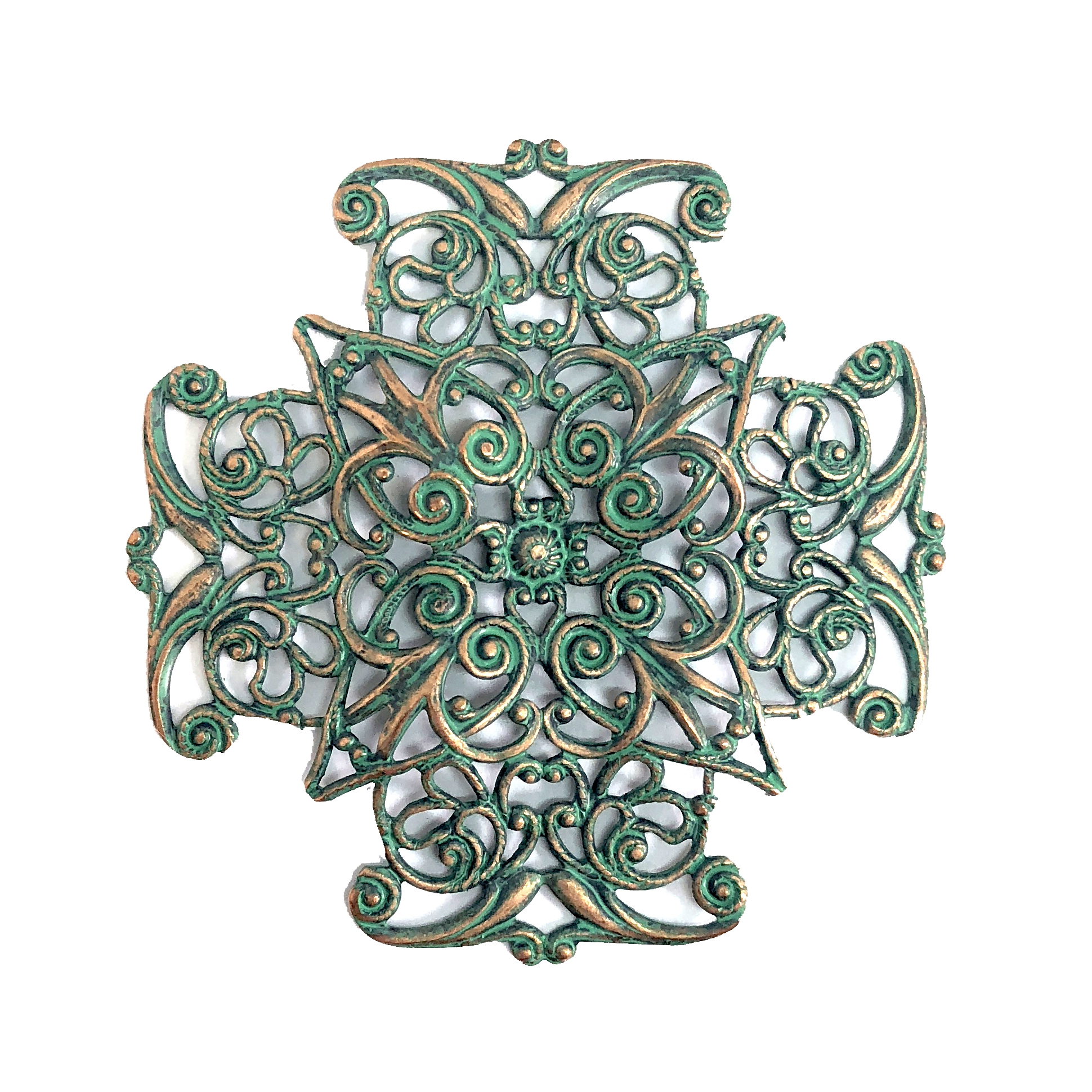 brass filigree, square, aqua copper patina, 08228, vintage jewelry supplies, brass jewelry parts, US made jewelry supplies, dapt filigree, nickel free jewelry parts, aqua, beading filigree