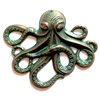 drilled brass octopus, sea creature jewelry, aqua copper patina, 08287, vintage jewelry supplies, nickel free jewelry supplies, beach jewelry, B'sue Boutiques, antique copper, jewelry findings
