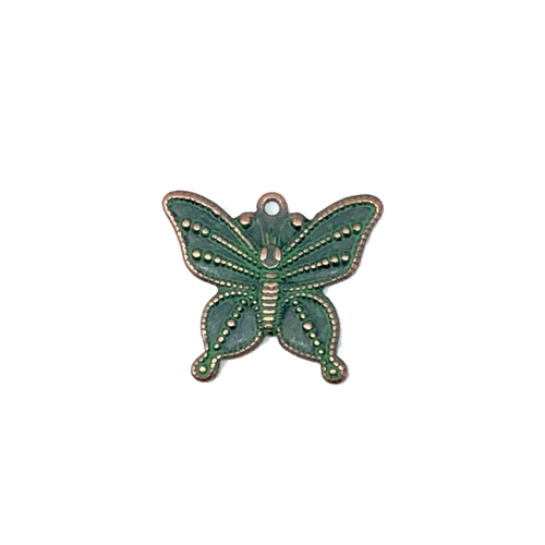 butterfly stampings, aqua copper patina, antique copper, 16 x 19mm, butterfly, 08652, animals, critters, insects, Bsue Boutiques, jewelry supplies, butterfly jewelry