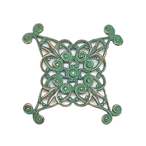 smaller x shape style filigree, aqua copper patina, antique copper, filigree, beading filigree, 36mm, stamping, jewelry making, jewelry wrap, jewelry supplies, brass jewelry parts, vintage supplies, beading supplies, 08657