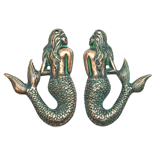 Mermaid pairs, drilled mermaids, aqua copper patina, brass stamping, brass mermaids, mermaid, ocean jewelry, drilled earring findings, Us Made, nickel free, jewelry findings, B'sue Boutiques, copper highlights, 08663