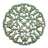 floral beading filigree, beading filigree, aqua copper patina, classic gold, vintage supplies, brass jewelry parts, jewelry making, US made, nickel free, B'sue Boutiques, filigree, victorian style, floral filigree, brass, 49mm, 08669