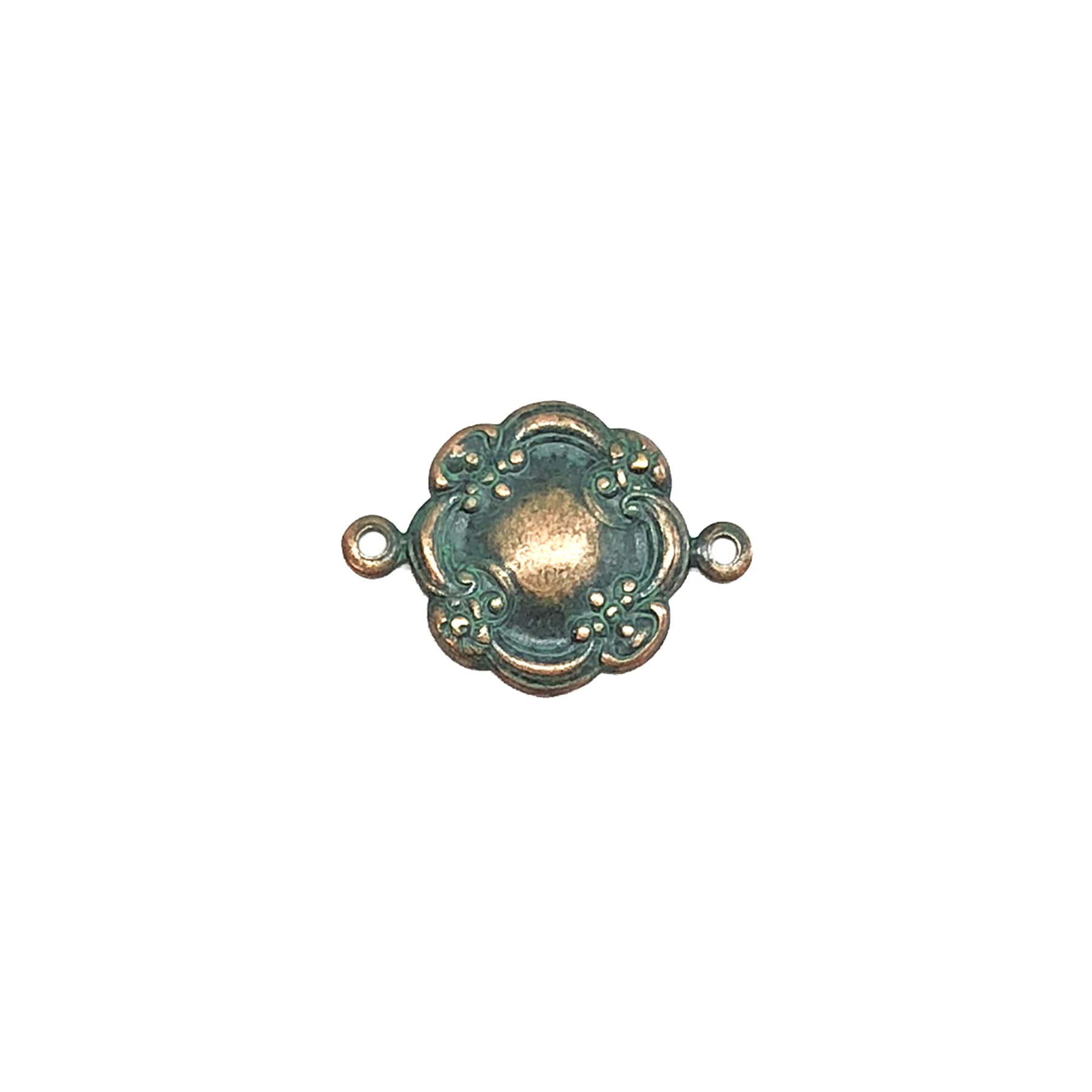 floral connector, aqua copper patina, connector, Victorian style, floral, US made, B'sue Boutiques, jewelry supplies, vintage supplies, jewelry making, jewelry connector, brass charms, floral charms, 14mm, brass stamping, floral style, 08671