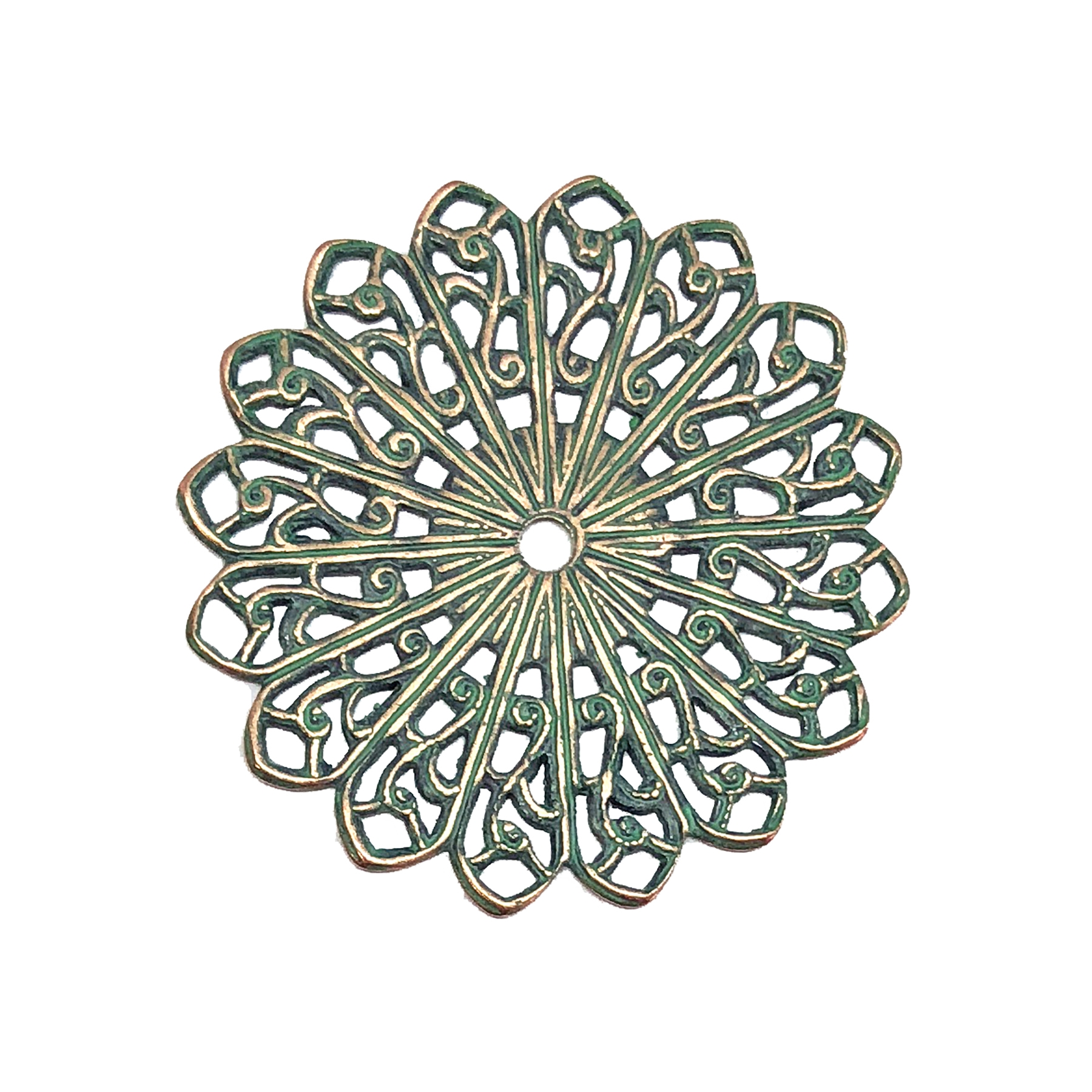 pinwheel style filigree, brass filigree, pinwheel style, aqua copper patina, vintage supplies, jewelry making, beading supplies, brass findings, jewelry findings, US made, jewelry supplies, B'sue Boutiques, 34mm, pinwheel, filigree, wiring filigree, 08672