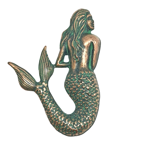 mermaid stamping, beach jewelry, mermaid, sea creature, aqua copper patina, brass, brass stamping, stamping, 54x36mm, US made, jewelry making, jewelry findings, vintage supplies, jewelry supplies, mermaid jewelry, copper patina, aqua copper, 08678