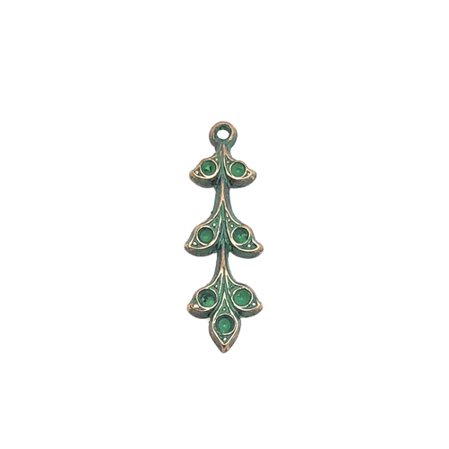 brass leaves, brass flowers, leaf sprig, 08680, Aqua Copper Patina, jewelry supplies, brass jewelry parts, vintage supplies, vintage jewelry, US made, nickel free, B'sue Boutiques, hanging hole, charm, leaf charm, pendant, leaf pendant, stone sets, aqua