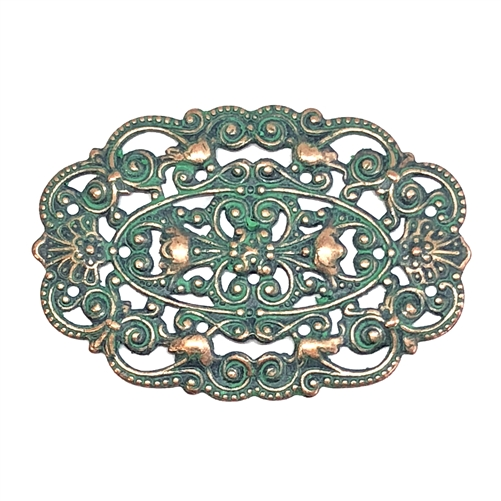 victorian beading filigree, aqua copper patina, filigree, beading filigree, victorian design, US made, nickel free, copper accents, filigree centerpiece, jewelry supplies, vintage supplies, jewelry making, B'sue Boutiques, 30x44mm, 08681, plaque