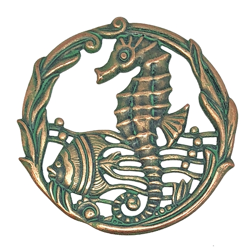 sea creatures, seahorse, aqua copper, 51mm, 08683, vintage jewelry supplies, jewelry making supplies, Bsue Boutiques, nickel free jewelry, US made jewelry supplies, antique brass, fish, ocean, beach
