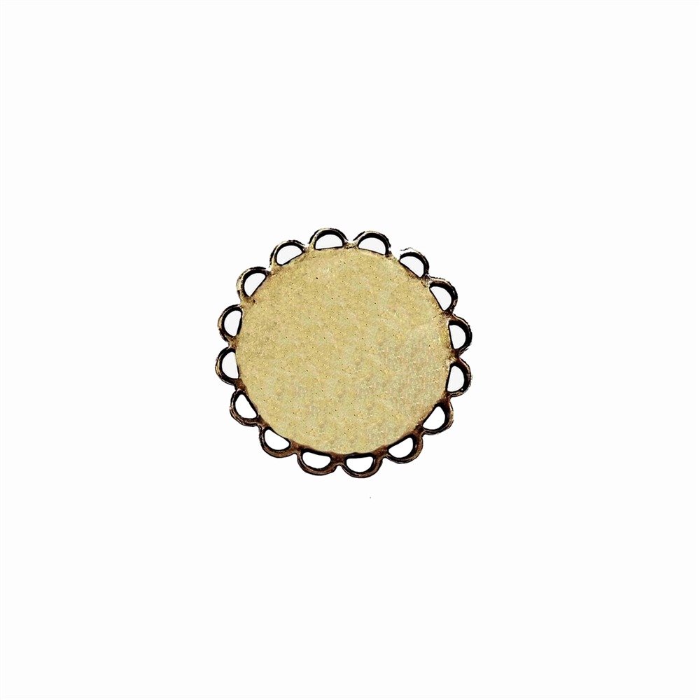 brass jewelry base, drilled base, brass ox, 02541, B'sue Boutiques, nickel free jewelry, US made jewelry, vintage jewellery supplies, jewelry making supplies, antique brass, brass blanks, round jewelry blanks, loop edge base