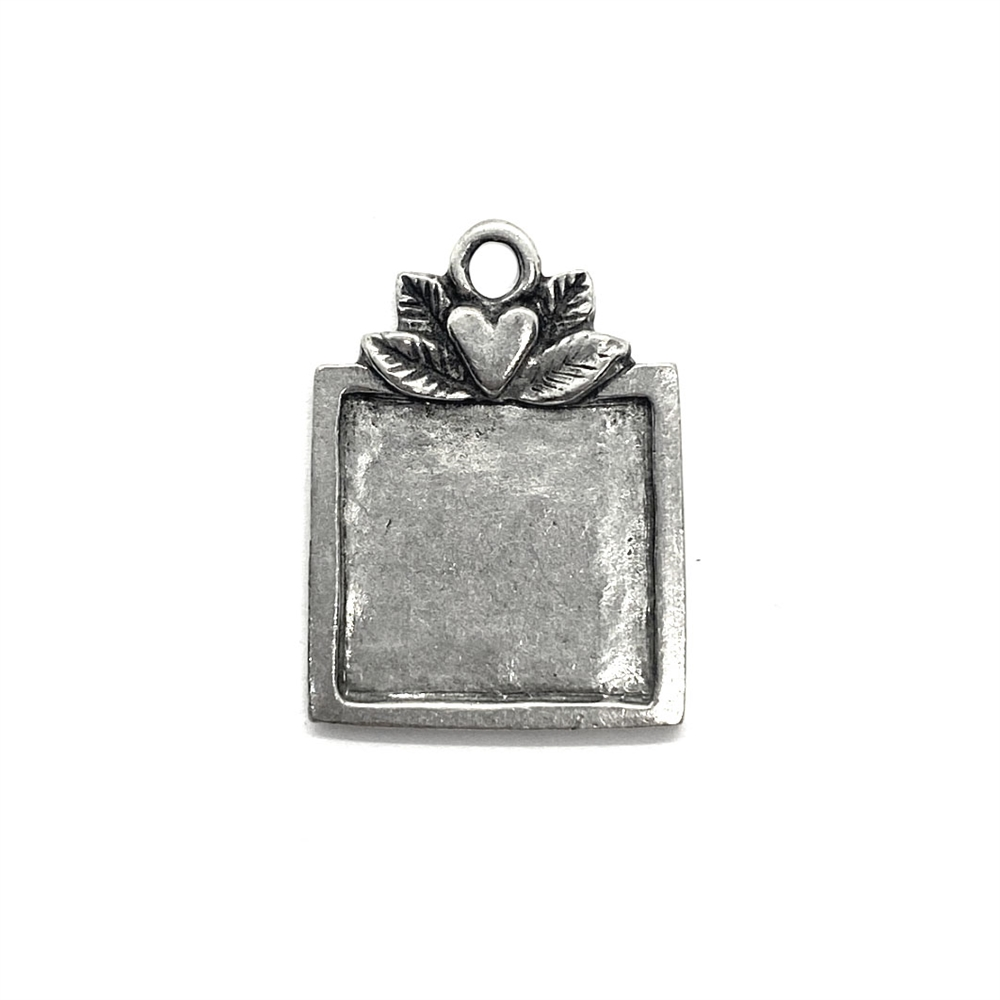 artisan pewter stamping, antique silver, 03881, nickel free, B'sue Boutiques, jewelry making, vintage supplies, jewelry supplies, jewelry findings, pewter, stampings, square blank, base, silver blank, pendant