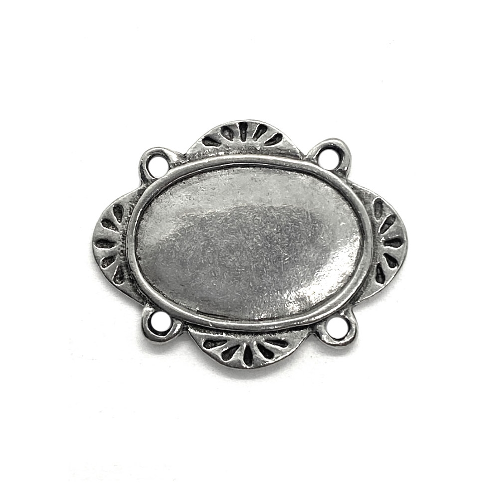 artisan pewter stamping, antique silver, 03883, nickel free, B'sue Boutiques, jewelry making, vintage supplies, jewelry supplies, jewelry findings, pewter, stampings, oval blank, base, silver blank, pendant, connector