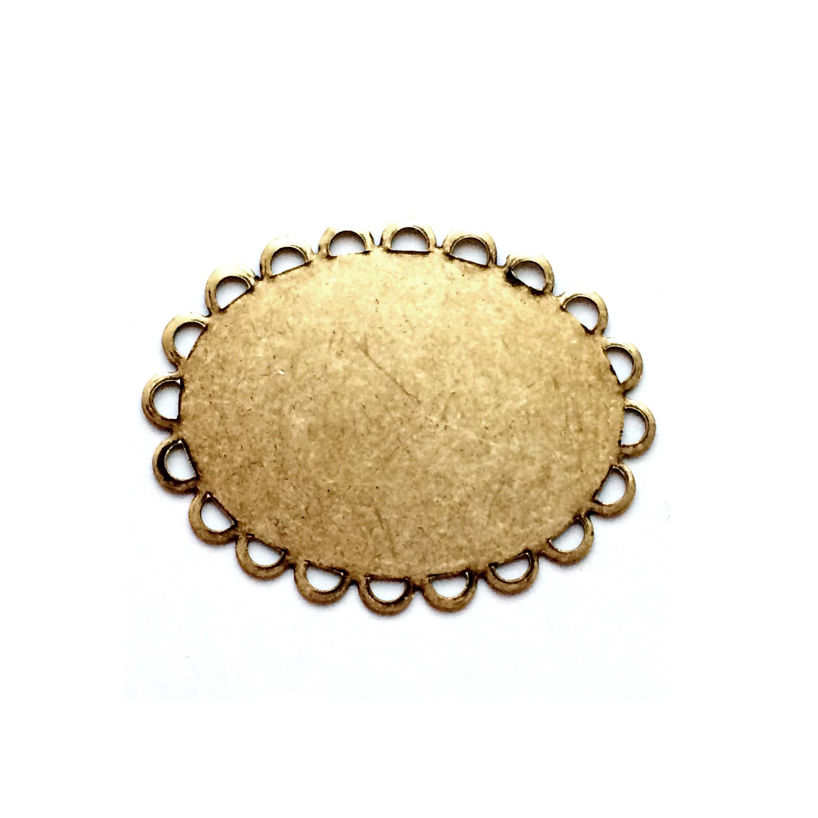 brass jewelry base, drilled base, brass ox, 0595, B'sue Boutiques, nickel free jewelry, US made jewelry, vintage jewellery supplies, jewelry making supplies, antique brass, brass blanks, oval jewelry blanks, loop edge base