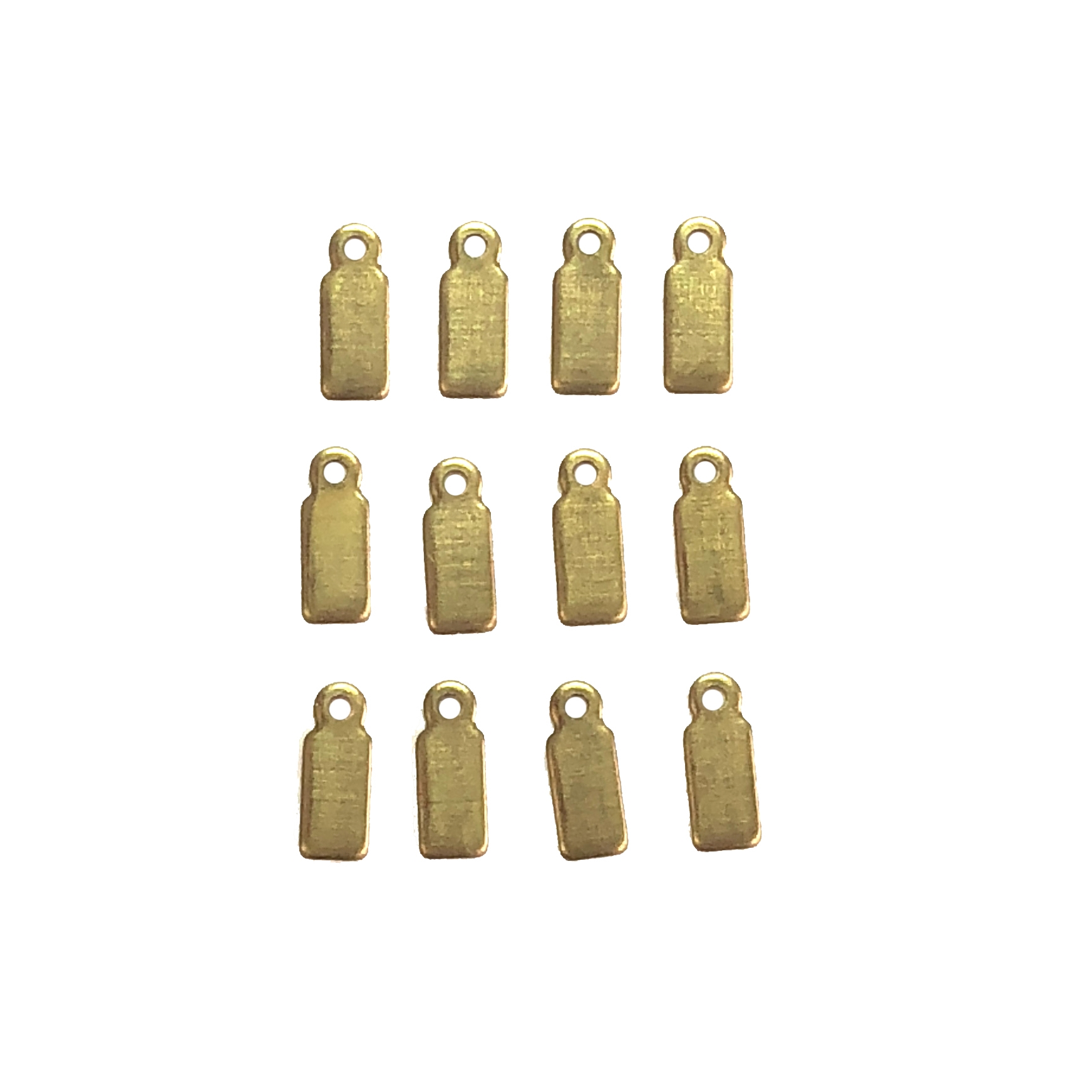 Brass Blank, tiny tags, 08365, blanks, tags, raw brass, unplated brass, charm, drop, ear drop, charms, drops, brass drop, Bsue Boutiques, jewelry supplies, findings, 12 x 3mm