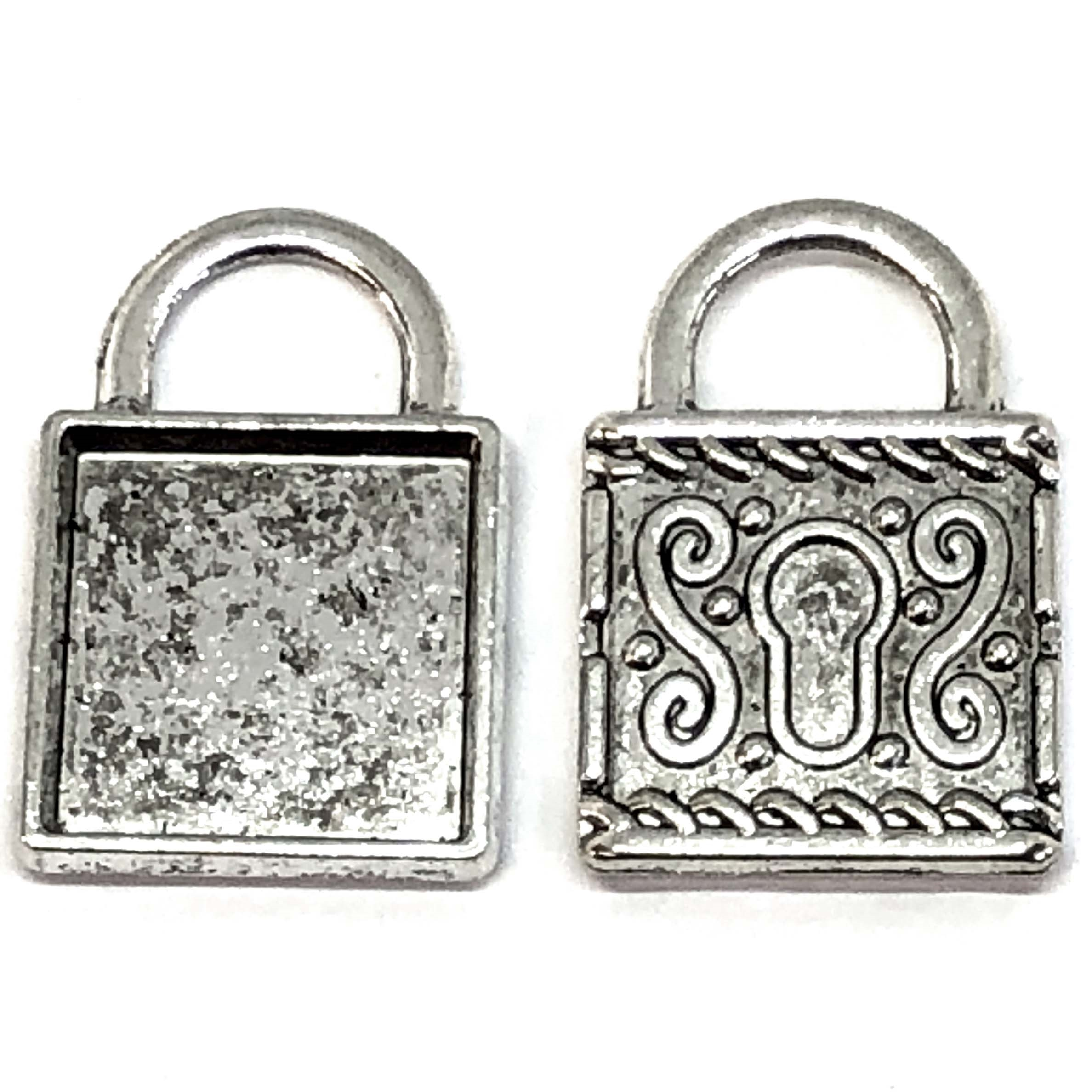 Lock pendant, locket base, antique silver, 09163, antique silver, nickel free, B'sue Boutiques, jewelry making, vintage supplies, jewelry supplies, jewelry findings, 09163