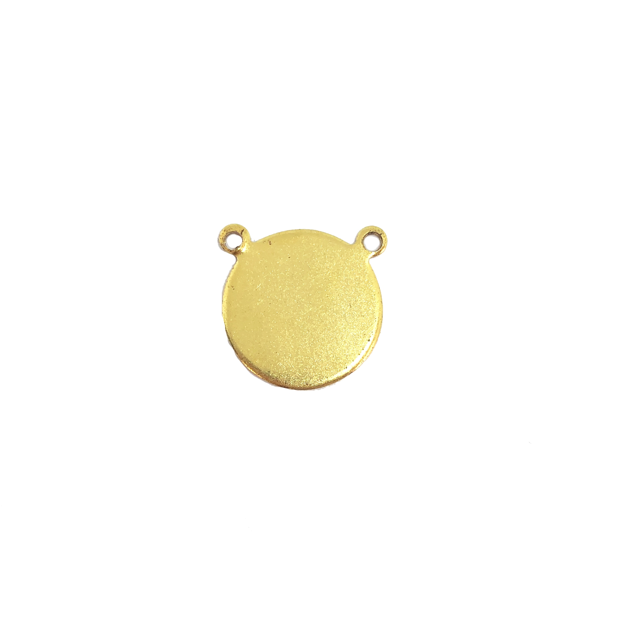 Brass blank, pendant base, double hole base, jewelry supplies, 12-13mm, 09769,  vintage jewelry supplies, brass jewelry parts, brass jewelry findings, antique gold, classic gold, college base