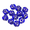 sapphire gold flower beads, glass beads, floral beads, Czech glass, drilled, blue glass beads, sapphire gold beads, gold, blue, US made, B'sue Boutiques, jewelry making, 9mm, vintage supplies, jewelry supplies, beads, 01005
