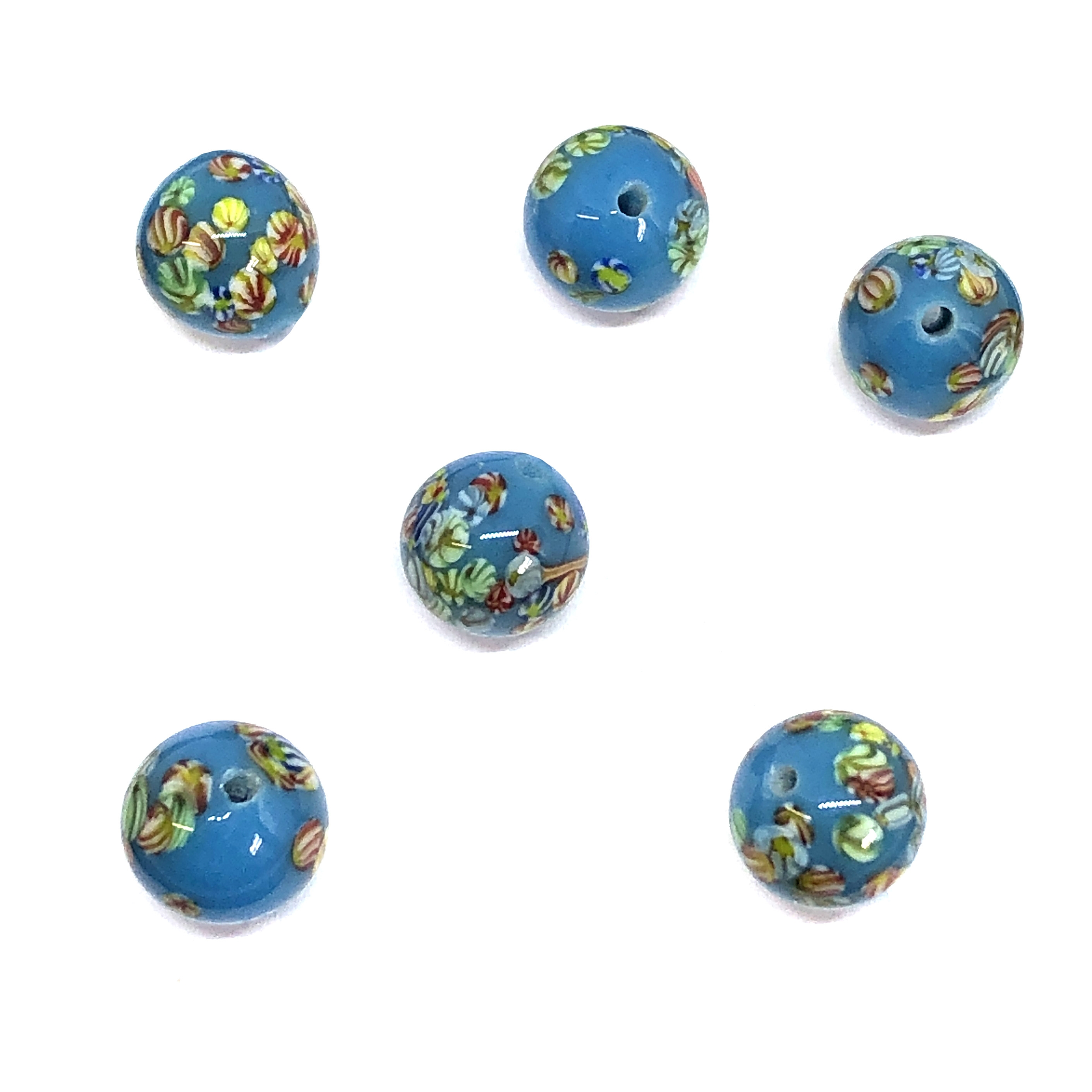 Floral glass round beads, Japanese Tombo beads, beading supplies, turquoise glass beads, blue millefleurs, jewelry making, jewelry supplies, vintage supplies, B'sue, round beads, 8mm, glass beads, 01006, blue beads, turquoise blue, Tombo