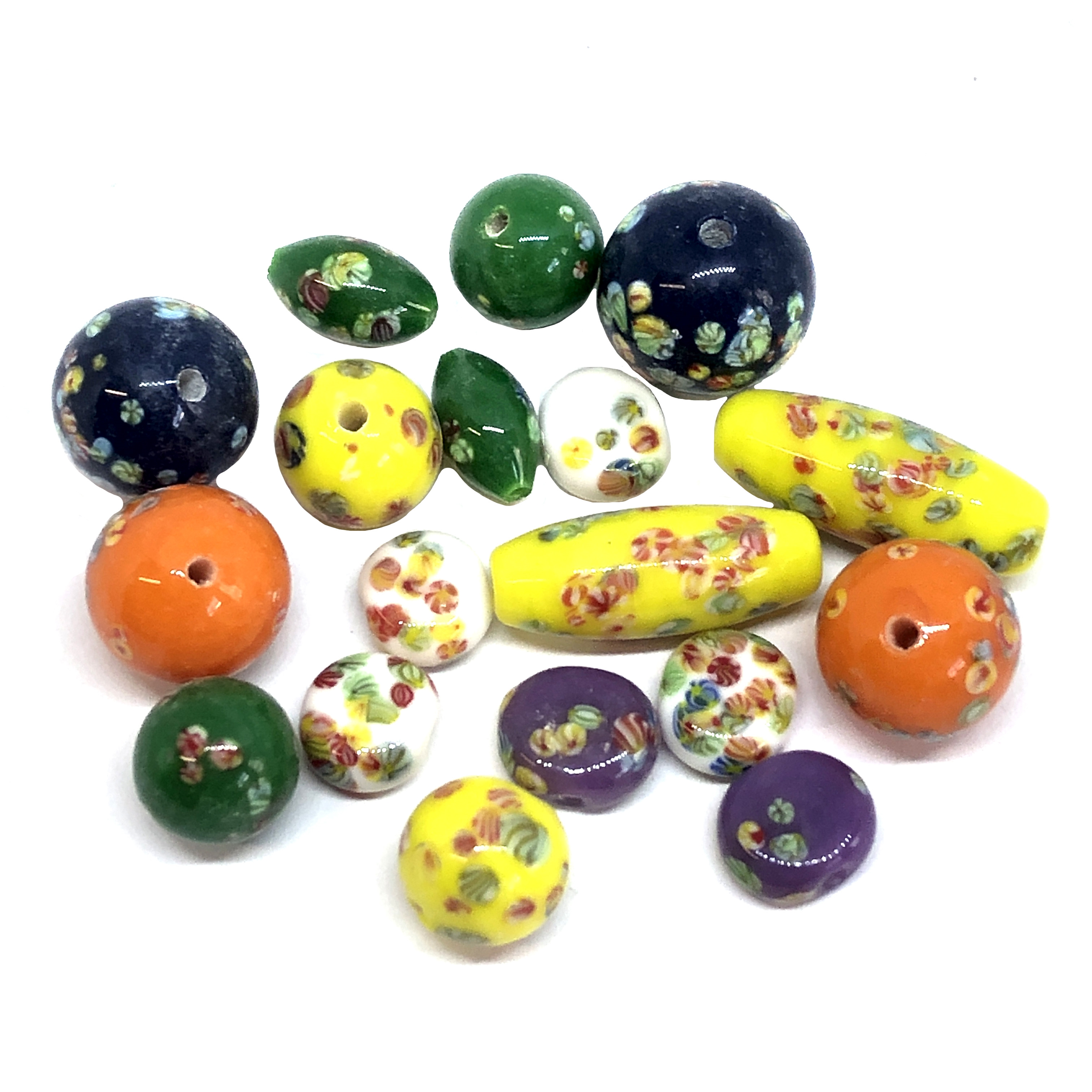 Floral glass beads, Japanese handmade beads, beading supplies, assorted colors,  jewelry making, jewelry supplies, B'sue, assorted shapes and sizes, glass beads, 01008, vintage Japanese beads, vintage beads, mixed colors, mixed assortment