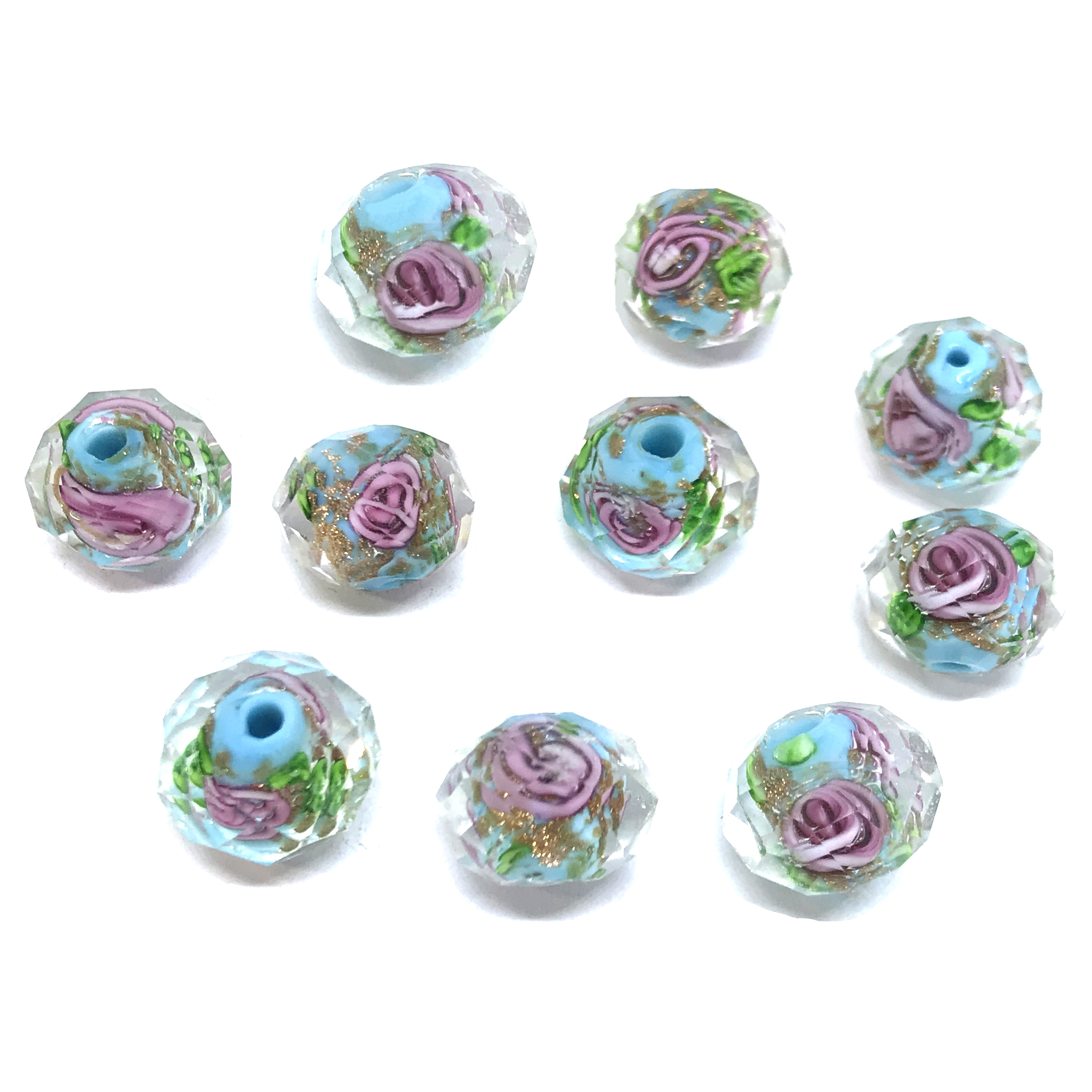 encased glass beads, floral beads, 01017, crystal beads, multi-color, pink rose, floral, blue beads, turquoise, glass beads, glass, faceted beads, facets, b'sue boutiques, jewelry supplies, beads, 9x12mm