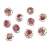 encased glass beads, floral beads, 01018, crystal beads, multi-color, pink rose, floral, red beads, red, glass beads, glass, faceted beads, facets, b'sue boutiques, jewelry supplies, beads, 9x12mm