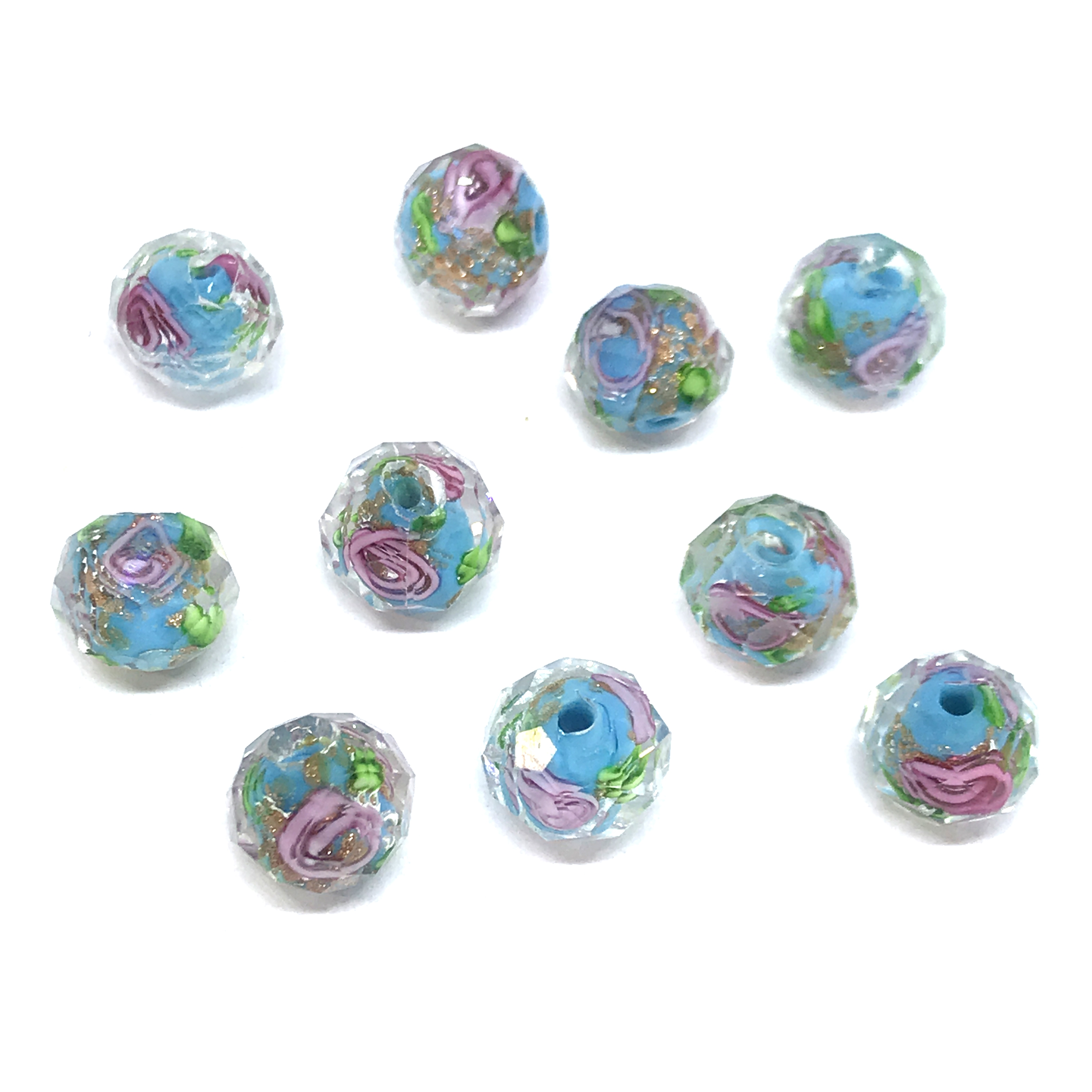 encased glass beads, floral beads, 01020, crystal beads, multi-color, pink rose, floral, blue beads, turquoise, glass beads, glass, faceted beads, facets, b'sue boutiques, jewelry supplies, beads, 8x10mm