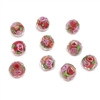 encased glass beads, floral beads, 01021, crystal beads, multi-color, pink rose, floral, red beads, red, glass beads, glass, faceted beads, facets, b'sue boutiques, jewelry supplies, beads, 8x10mm