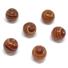 Japanese beads, handmade, glass, striated, lampwork, 01030, amber color, 9mm, round beads, glass beads, Old Cherry brand, B'sue Boutiques, jewelry supplies, vintage beads, vintage jewelry supplies, vintage glass
