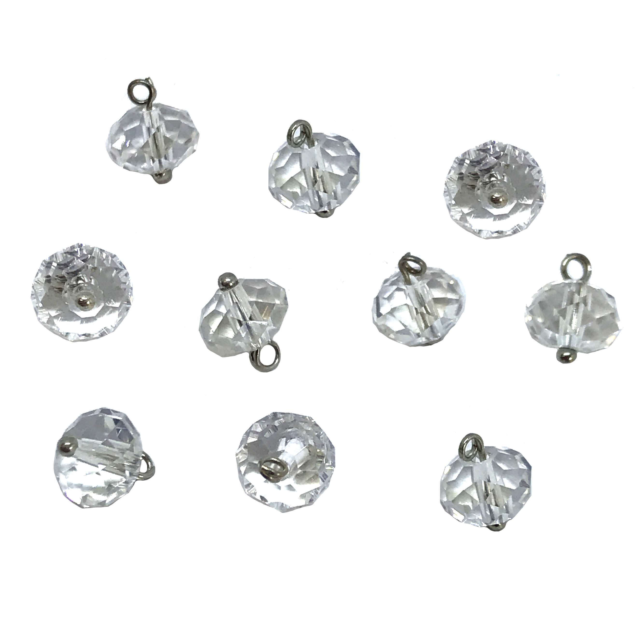 vintage faceted glass drops, clear beads, 01040, transparent beads, beads with bails, looped beads, beads on headpins, clear glass drops, glass charms, charms, design embellishments, bead charms, crystal clear beads, 6x8mm