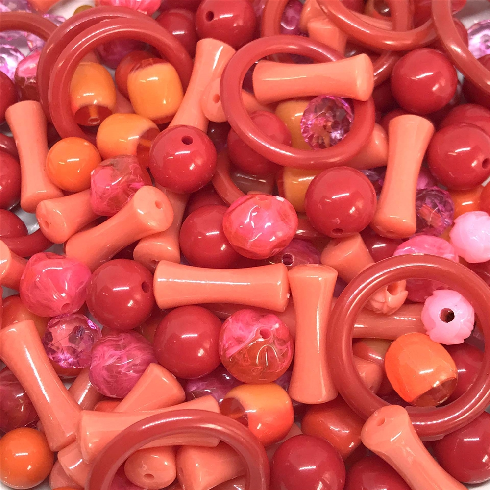 vintage beads, drilled, acrylic beads, beads, vintage beads, bead mix, assorted beads, B'sue Boutiques, designer, jewelry designer, designer beads, beading, acrylic beads, tango, 01054, reds and oranges