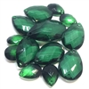 assorted briolettes, acrylic beads, 01061, vintage, vintage beads, beading, briolettes, vintage briolettes, pear shaped beads, tear drop, emerald green, green, assorted sizes, ombre, faceted briolettes