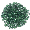 assorted briolettes, acrylic beads, 01063, vintage, vintage beads, beading, briolettes, vintage briolettes, pear shaped beads, tear drop, emerald green, green, assorted sizes, faceted briolettes