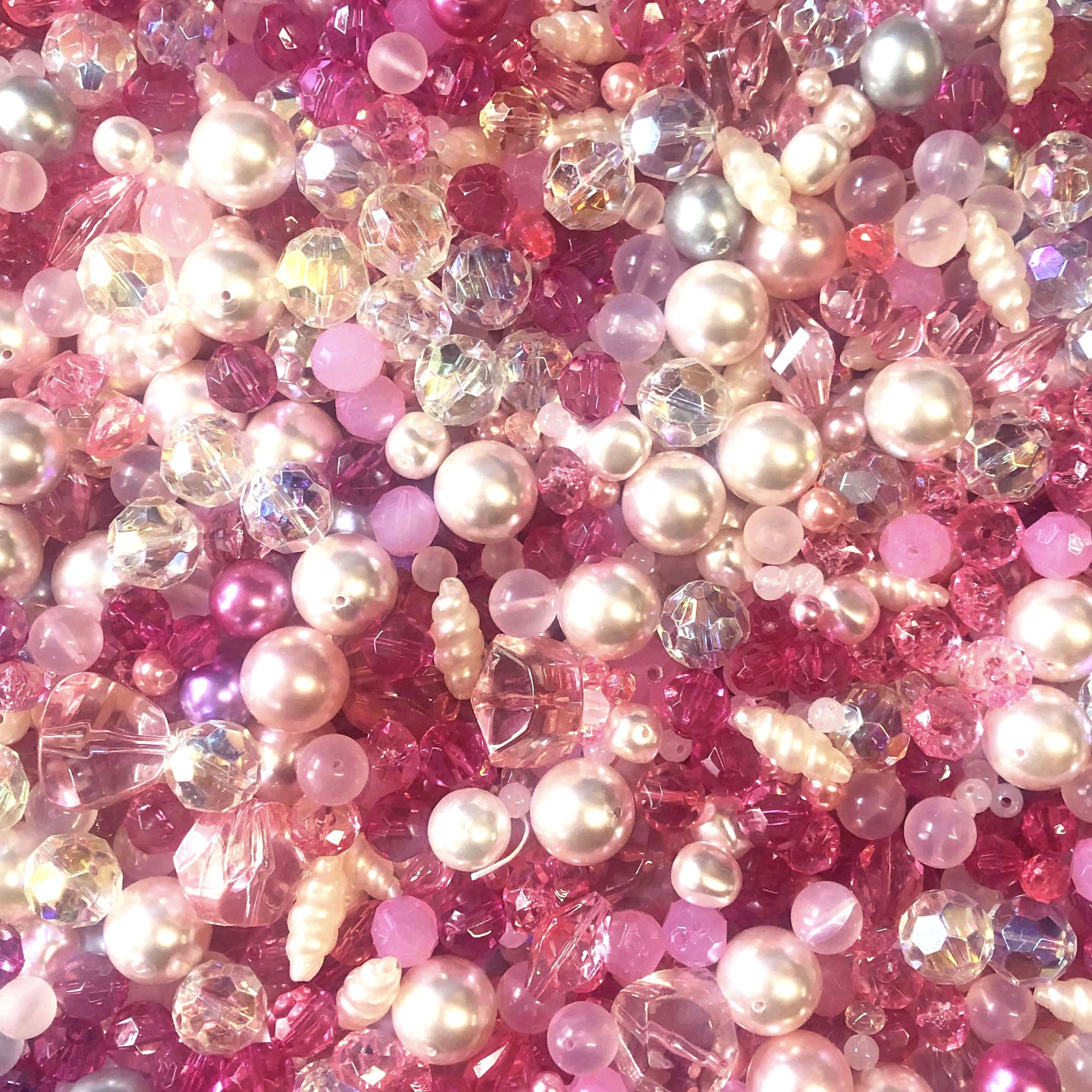 designer beads, acrylic beads, vintage designer beads, tickled pink, plastic beads, vintage pearls, beading supplies, making beaded jewelry, lucite beads, luster beads,  B'sue, pearls, bead mix, pink beads, jewelry beads, beads, jewelry making, 01065