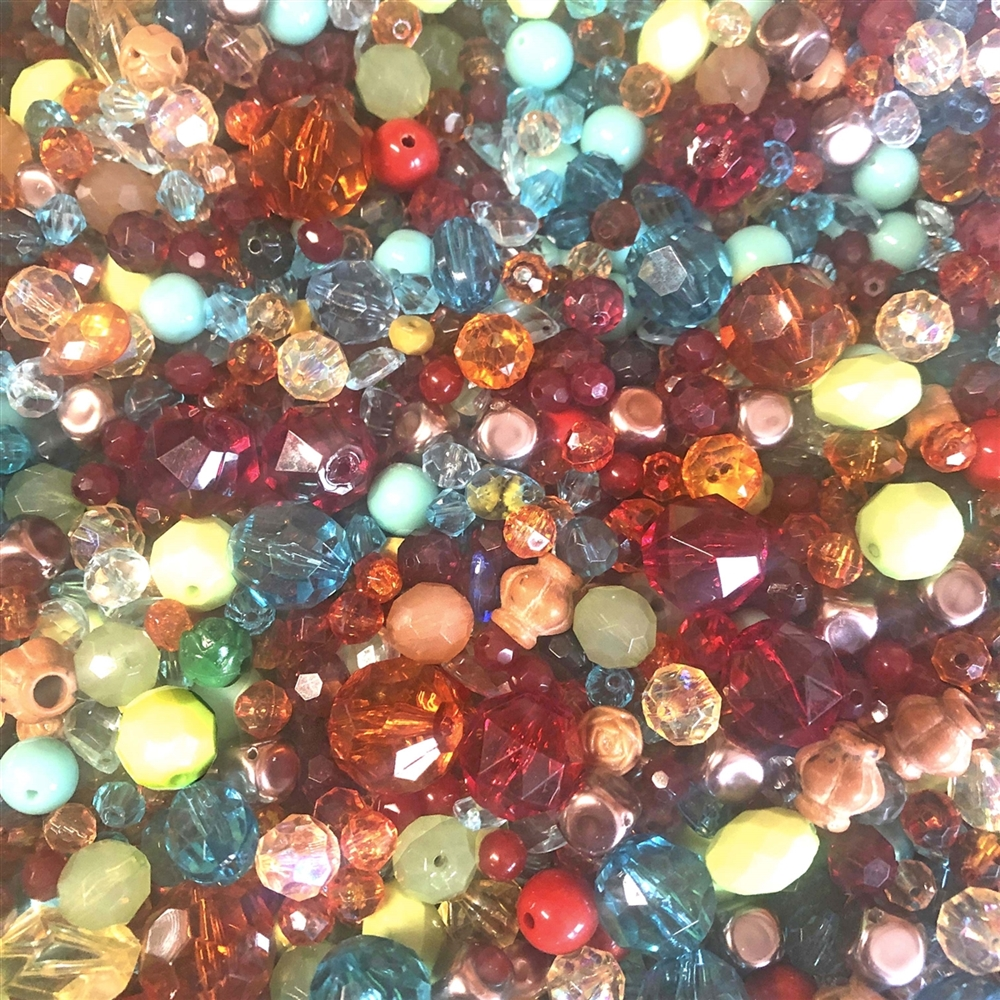 vintage bead mix, Novegatti Madras #2, acrylic beads, bead mix, assorted beads, bead assortment, mixed colors of beads, designer acrylic beads, B'sue Boutiques, jewelry beads, beads, jewelry making, jewelry supplies, vintage supplies, green, amber, 01066